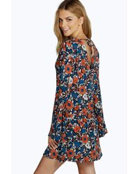 Boohoo - Blue Katie V Back Tie Swing Dress - Lyst