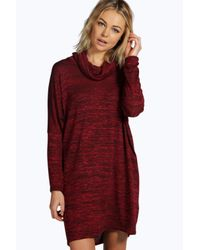 Boohoo | Multicolor Tanya Knitted Cowl Neck Shift Dress | Lyst