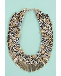 Boohoo | Metallic Gracie Beaded Statement Necklace | Lyst