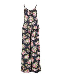 Boohoo - Blue Lizzie Floral Print Vest And Wide Leg Trouser Set - Lyst