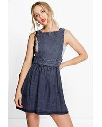 b6945e5fd2 Lyst - Boohoo Deliah Denim Pinafore Dress in Blue