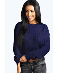 Boohoo - Blue Ellie Crop Fisherman Jumper - Lyst