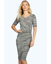 Boohoo | Gray Shana Knot Front Midi Split Dress | Lyst