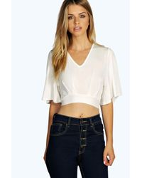 Boohoo - White Moira Bell Sleeve Tie Back Top - Lyst