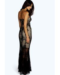 Boohoo - Black Boutique Khloe All Over Lace Bandeau Maxi Dress - Lyst