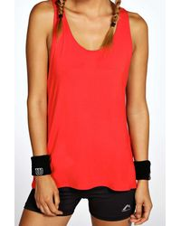 Boohoo - Red Alison Fit Twist Back Drop Arm Vest - Lyst