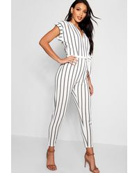 ba840f5cb4cc Boohoo Tailored Roll Sleeve Tie Belt Jumpsuit in White - Lyst