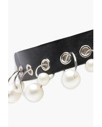 Boohoo - Black Pierced Hoop And Pearl Detail Choker - Lyst