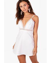 Boohoo - White Petite Tilly Trim Detail Skater Dress - Lyst