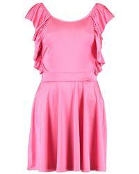 Boohoo - Pink Sommerkleid Mit Knoten Rücken Aus Kreppstoff - Lyst