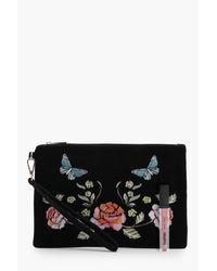 Boohoo - Black Saffy Floral Embroidered Velvet Clutch Bag - Lyst