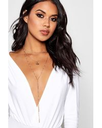 Boohoo - Metallic Layered Plunge Chain Necklace - Lyst