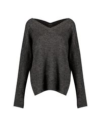 Boohoo - Gray Jumper With V Neck Detail Front And Back - Lyst