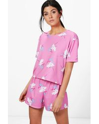 Boohoo - Pink Tilly Unicorn Short & Tee Pj Set - Lyst
