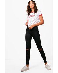Boohoo | Black Tall Maria Split Knee Basic Jeggings | Lyst