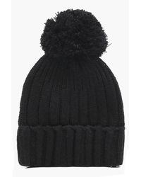 Boohoo - Black Emily Knitted Pom Rib Beanie - Lyst