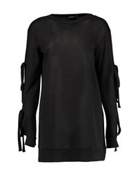 Boohoo - Black Vera Tie Sleeve Sweat Dress - Lyst