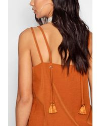 Boohoo - Black Rope Strap Tassel Woven Cami - Lyst