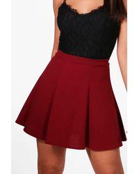 Boohoo - Black Tailored Panelled Skater Skirt - Lyst