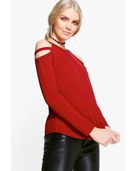 25ebd70677b95e Lyst - Boohoo Carolyn Caged Cold Shoulder Top in Red
