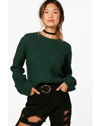 Boohoo - Green Lauren Turn Up Cuff Rib Edge Jumper - Lyst