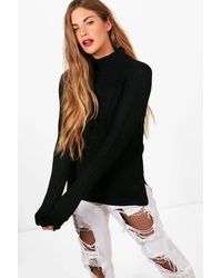 Boohoo | Black Imogen Turtleneck Fisherman Jumper | Lyst
