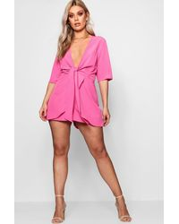 Boohoo - Pink Plus Knot Front Plunge Playsuit - Lyst