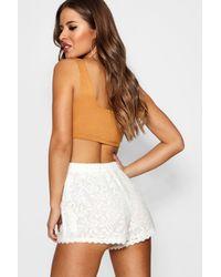 Boohoo - Black Petite Daisy Scallop Lace Hem Shorts - Lyst