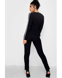 Boohoo - Black Sports Stripe Belted Trouser Co-ord Set - Lyst