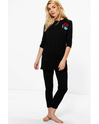 Boohoo | Black Badge Long Sleeve Legging Set | Lyst