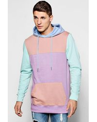 Boohoo - Pink Cut And Sew Panelled Colour Block Hoodie for Men - Lyst