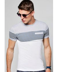 Boohoo | Gray Short Sleeve Crew Neck Contrast Panel T-shirt for Men | Lyst