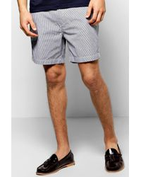 Boohoo | Blue Cotton Twill Stripe Shorts for Men | Lyst