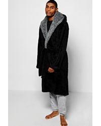 Boohoo - Black Fleece Dressing Gown With Hood for Men - Lyst