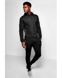 Boohoo - Black Skinny Fit Biker Panel Tracksuit for Men - Lyst