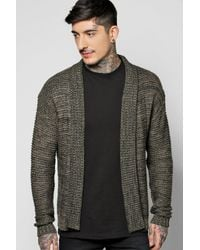 Boohoo - Multicolor Boucle Knit Edge To Edge Cardigan for Men - Lyst