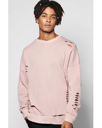 Boohoo Pink Oversized Drop Shoulder Destroyed Sweatshirt for men