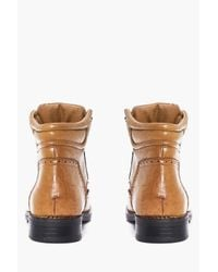 Boohoo - Brown Brogued Lace Up Smart Boots for Men - Lyst