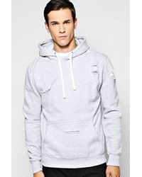 Boohoo - Gray Distressed Over The Head Hoody for Men - Lyst