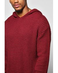 Boohoo - Gray Waffle Stitch Hoodie for Men - Lyst