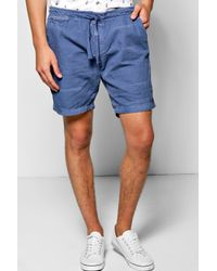 Boohoo - Blue Washed Canvas Chino Shorts for Men - Lyst