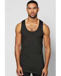 Boohoo | Black Asymmetric Longline Vest for Men | Lyst
