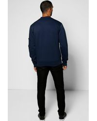 Boohoo - Blue Ma1 Jersey Zip Through Bomber for Men - Lyst