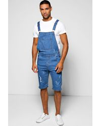 991b02c6b11a Boohoo Slim Fit Denim Dungaree Shorts With Rips in Blue for Men - Lyst