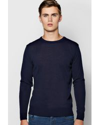 Boohoo | Blue Crew Neck Fine Gauge Jumper for Men | Lyst