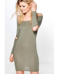 Boohoo - Multicolor Petite Ivy Cut Out Sleeve Bodycon Dress - Lyst