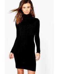 Boohoo | Black Petite Sarah Turtle Neck Fine Knit Mini Dress | Lyst