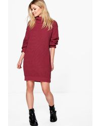 Boohoo | Red Petite Tilly Rib Roll Neck Jumper Dress | Lyst
