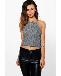 Boohoo Petite Charlotte High Neck Metallic Cami