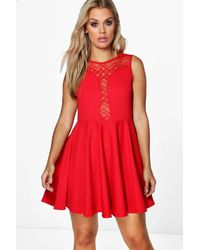Boohoo - Red Plus Tilly Lace Detail Skater Dress - Lyst
